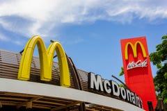 乌隆他尼,泰国, 5月20日2018标签麦克唐纳` s餐馆 免版税库存照片