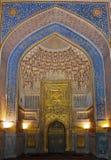 乌鲁伯格Madrasah,撒马而罕,乌兹别克斯坦的里面 免版税库存图片