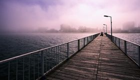 乌鸦,在一座桥梁的鸟飞行在黑海在一朦胧的天 库存图片