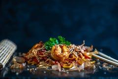 乌龙面用海鲜,日本烹调 图库摄影