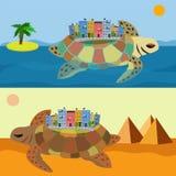 乌龟到城市旅行  免版税库存图片