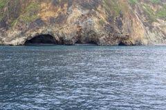 乌龟海岛,多孔黏土rgb海边洞  库存照片