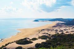 乌龟海滩Karpaz,北部塞浦路斯顶视图  库存图片