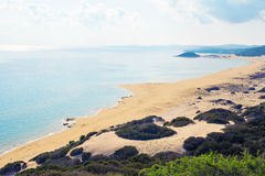 乌龟海滩Karpaz,北部塞浦路斯顶视图  库存照片