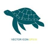 乌龟的剪影 徽标 观点的在边的一只乌龟 也corel凹道例证向量 免版税图库摄影