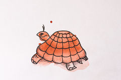 乌龟被绘的水彩 免版税库存图片
