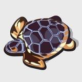 乌龟金黄小雕象与蓝色壳的 免版税库存图片