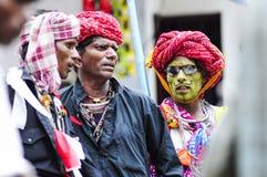 乌代浦,印度, 2010年9月14日:一个小组印地安hijra戏剧 免版税库存照片
