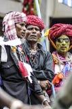 乌代浦,印度, 2010年9月14日:一个小组印地安hijra戏剧 库存图片