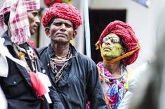 乌代浦,印度, 2010年9月14日:一个小组印地安hijra戏剧 库存照片