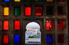 乌代浦从城市宫殿的市视图 库存图片