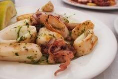 乌贼起一顿膳食作用对于餐馆用草本作为一道配菜-土气木背景-枪乌贼乌贼新鲜的海鲜 库存图片