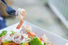 乌贼辣沙拉,泰国海鲜 免版税库存图片