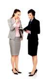乏味女实业家谈话与她的伙伴 免版税库存图片
