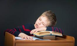 乏味学校研究 很疲倦于家庭作业 逗人喜爱孩子睡觉o 免版税库存照片