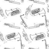 乐器无缝的样式 免版税库存照片
