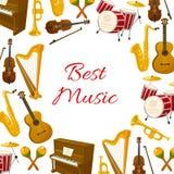 乐器最佳的音乐传染媒介海报  图库摄影