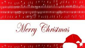 乐谱圣诞快乐丝毫圣诞老人帽子 股票录像
