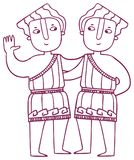 乐趣占星-双子星座黄道带标志 免版税库存照片