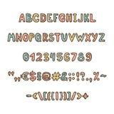 乐趣和逗人喜爱的儿童的字母表和形象 库存图片