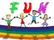 乐趣哄骗展示儿童孩子和兴奋 库存例证
