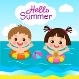 乐趣孩子的夏天活动 夏天哄骗传染媒介 逗人喜爱的男孩和女孩有游泳圆环的 皇族释放例证