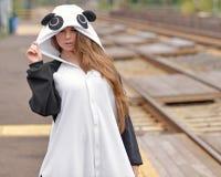 乐趣熊猫服装的性感的少妇 库存照片