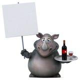 乐趣犀牛- 3D例证 免版税库存图片