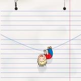 乐趣男孩停止在绳索的,儿童的笔记本页 免版税库存图片