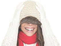 乐趣纵向冬天妇女 免版税库存照片