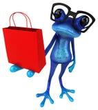 乐趣蓝色青蛙- 3D例证 向量例证