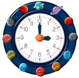 乐趣行星主题的时钟 库存例证