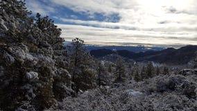 乐趣雪天在冬天妙境 免版税库存照片
