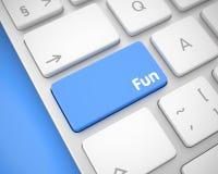 乐趣-在蓝色键盘按钮的消息 3d 免版税库存照片