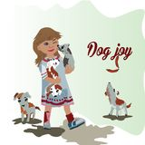 乐趣 有小狗的美丽的女孩 库存照片