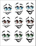 乐趣Emoji面对与色的眼睛 免版税库存图片