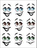 乐趣Emoji面对与色的眼睛 图库摄影