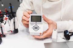 乐高伊芙机器人学机电仪一体化汇编概念 免版税图库摄影