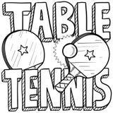 乒乓球剪影 向量例证