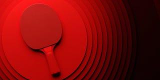 乒乓球或乒乓球球拍 比赛在抽象色环backgroung 3d例证的海报设计 免版税库存照片