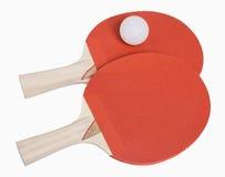 乒乓球桨和球 免版税图库摄影