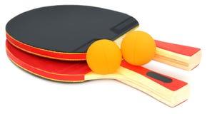 乒乓球棒和球 免版税库存照片