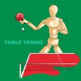 乒乓球的概念炫耀与木人的时装模特 免版税库存照片