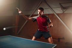 乒乓球,行动的球员,与踪影的球 免版税库存照片