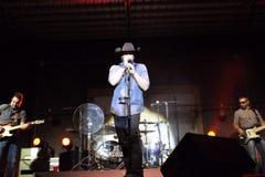 乔尼柯尔斯唱歌舞台上 库存图片