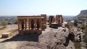 乔德普尔城都市风景大角度看法从Jaswant Thada寺庙的 股票录像