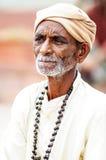 乔德普尔城,印度, 2010年9月10日:一个老印地安人ma的画象 库存照片