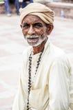 乔德普尔城,印度, 2010年9月10日:一个老印地安人ma的画象 免版税库存图片