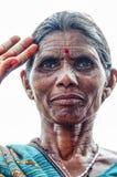 乔德普尔城,印度, 2010年9月10日:老印地安妇女画象  库存图片