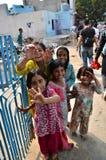 乔德普尔城,印度- 2015年1月2日:印地安孩子画象在一个村庄在乔德普尔城,印度 免版税图库摄影